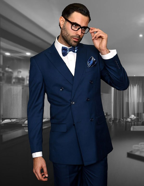 Statement-TZD-100-Sapphire - Mens Regular Fit Peak Lapel Double Breasted Suit With Pleated Pants In Super 150s Wool