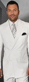 Statement-TZD-100-White - Mens Regular Fit Peak Lapel Double Breasted Suit With Pleated Pants In Super 150s Wool
