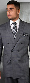 Statement-TZD-401-Charcoal - Mens Double Breasted Window Pane Peak Lapel Suit With Pleated Pants In Super 150s Wool