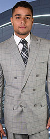 Statement-TZD-401-Grey - Mens Double Breasted Window Pane Peak Lapel Suit With Pleated Pants In Super 150s Wool
