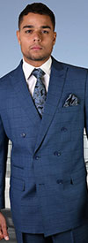 Statement-TZD-401-Indigo - Mens Double Breasted Window Pane Peak Lapel Suit With Pleated Pants In Super 150s Wool