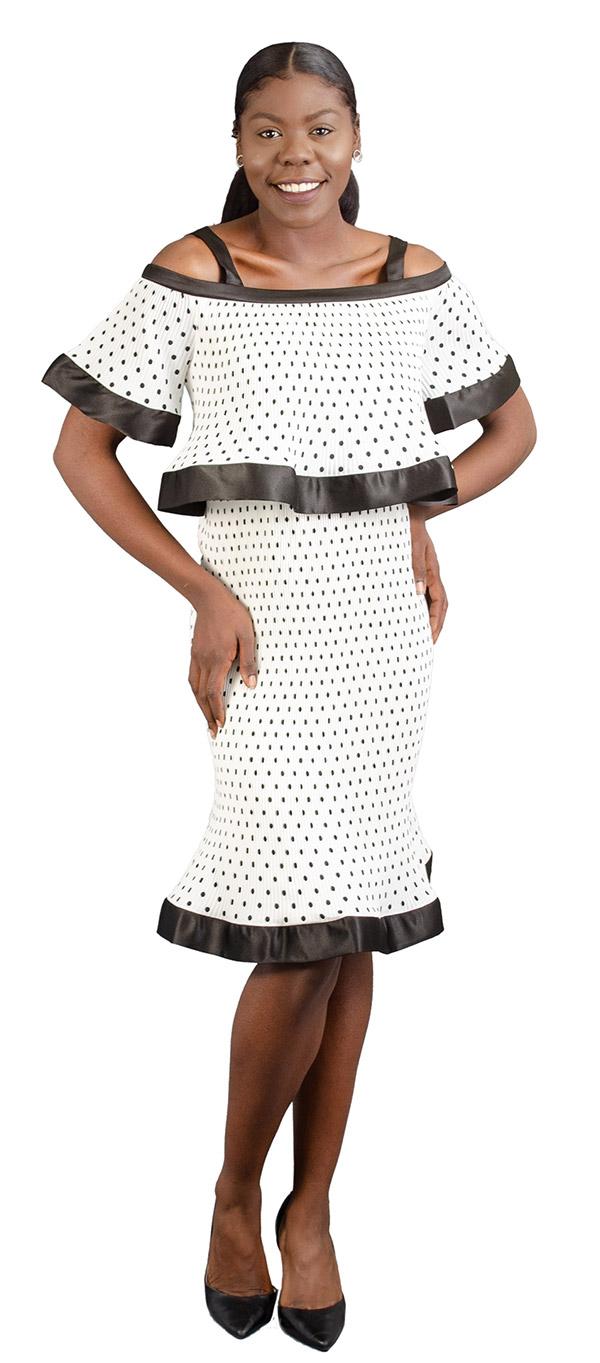 FT Inc D0078 - Womens Polka-Dot Dress With Off-Shoulder Neckline