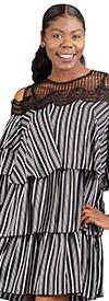 FT Inc D0089  - Womens Multi Tiered Cold-Shoulder Lace Detail Dress