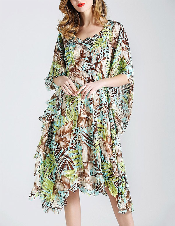 Jerry T SR7195-GreenBrownFlower - Womens Printed Poncho Dress With Detailed Edging