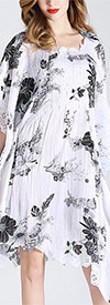 Jerry T SR7195-WhiteBlackFlower - Womens Printed Poncho Dress With Detailed Edging