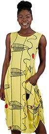Kaktus 61248 - Sleeveless Dress In Fish Art Print