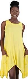 Kaktus 71110-Yellow - Sleevless Sharkbite Hem Pocketed Dress In Crepon Fabric