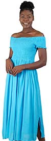 Kaktus 71111 - Short Sleeve Smocked Bodice Dress