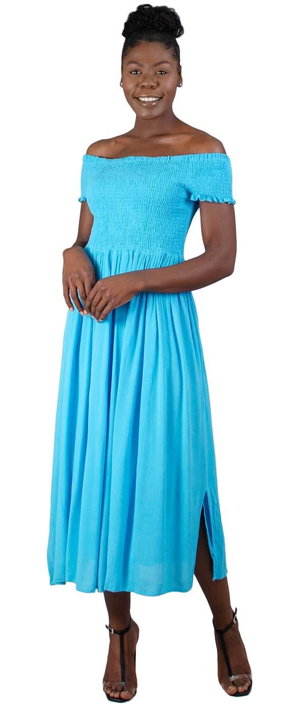 Kaktus 71111 - Short Sleeve Smocked Bodice Dress