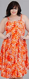 Kaktus 71202X - Sleeveless Double Strap Dress In Leaf Print