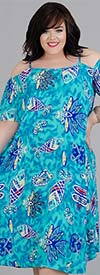 Kaktus 71382X - Cold Shoulder Style Dress In Aquatic Inspired Print