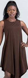 Kaktus 71700-Brown- Sleeveless Dress In in Pointed Layer Design