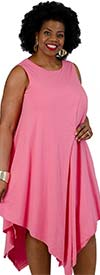 Kaktus 71700-Fuchsia - Sleeveless Dress In in Pointed Layer Design
