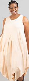 Kaktus 71700-Peach - Sleeveless Dress In in Pointed Layer Design