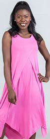 Kaktus 71700-Pink - Sleeveless Dress In in Pointed Layer Design