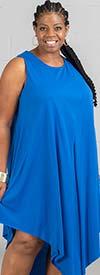 Kaktus 71700-Royal - Sleeveless Dress In in Pointed Layer Design