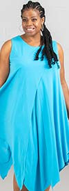 Kaktus 71700-Turquoise - Sleeveless Dress In in Pointed Layer Design