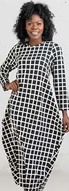KaraChic CHH19010-BlackWhite - Grid Print Knit Maxi (Long) Dress