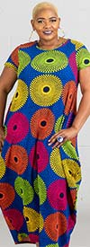 KaraChic CHH19067 - Multi Color Circle Print Knit Maxi (Long) Dress