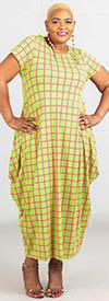 KaraChic CHH20001-PinkGreen - Grid Pattern Print Womens Knit Maxi (Long) Dress