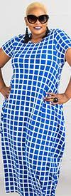 KaraChic CHH20001-RoyalWhite - Grid Pattern Print Womens Knit Maxi (Long) Dress
