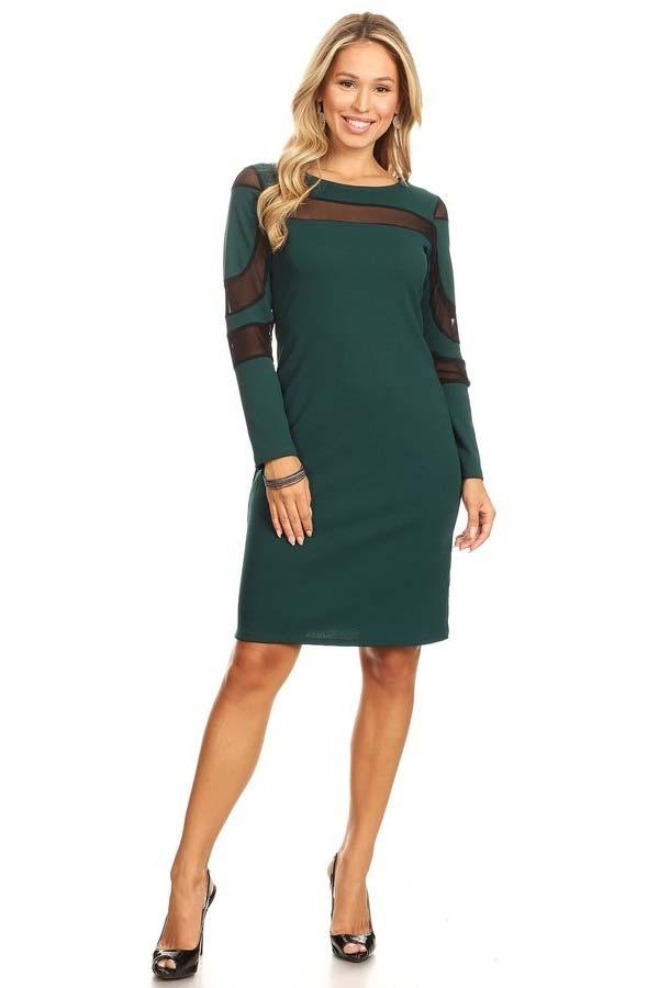 KarenT-2062-Green - Ladies Long Sleeve Dress Featuring Illusion Mesh Inserts