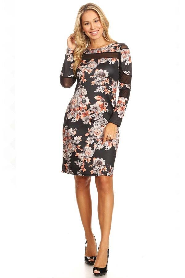 KarenT-2062-Multi - Ladies Long Sleeve Dress Featuring Illusion Mesh Inserts