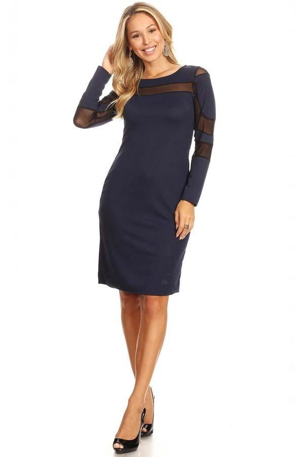 KarenT-2062-Navy - Ladies Long Sleeve Dress Featuring Illusion Mesh Inserts