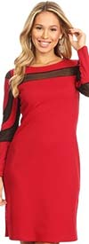 KarenT-2062-Red - Ladies Long Sleeve Dress Featuring Illusion Mesh Inserts
