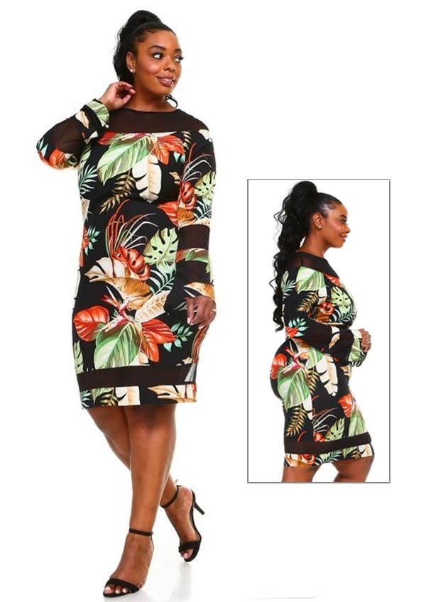 KarenT-7002-Multi - Womens Long Bell Sleeve Dress Featuring Sheer Cut-Out Inserts