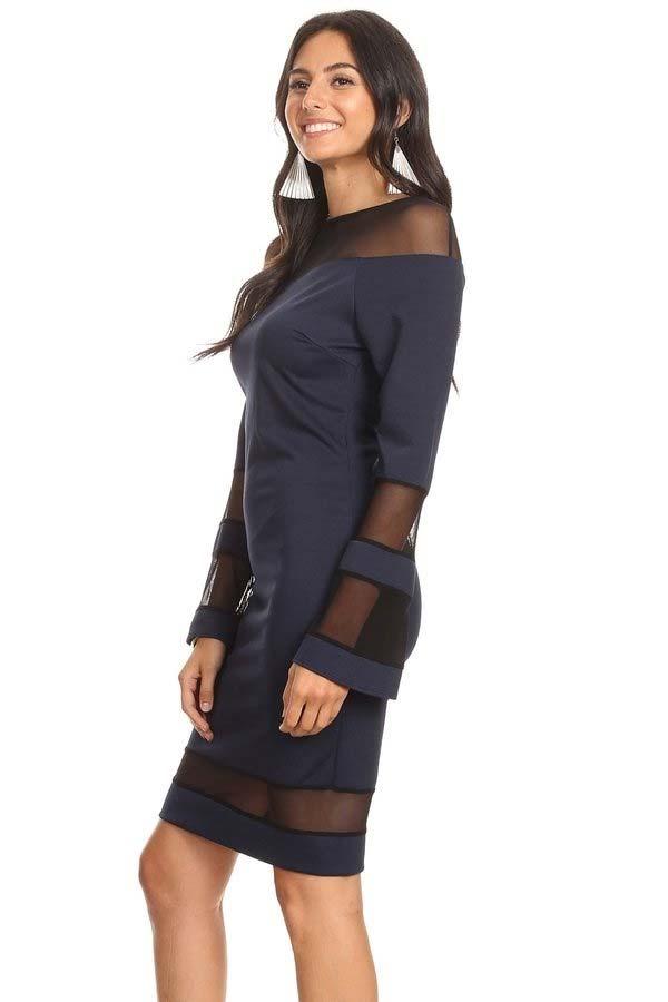 KarenT-7002-Navy - Womens Long Bell Sleeve Dress Featuring Sheer Cut-Out Inserts