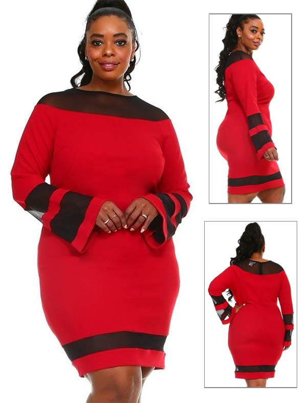 KarenT-7002-Red - Womens Long Bell Sleeve Dress Featuring Sheer Cut-Out Inserts