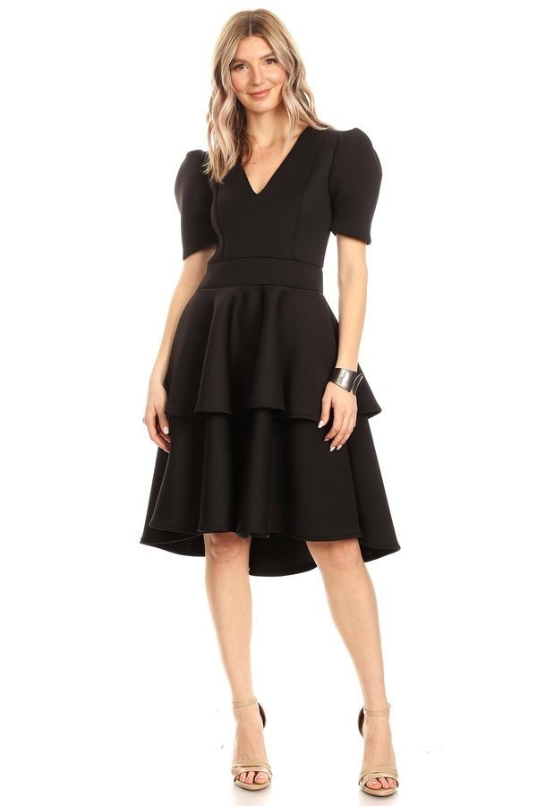 KarenT-8018-Black - Tiered Ruffle Short Sleeve Midi Dress With V-Neckline