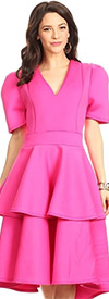 KarenT-8018-Fuchsia - Tiered Ruffle Short Sleeve Midi Dress With V-Neckline