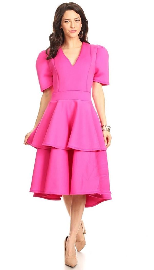 KarenT-8018-Fuchsia - Tiered Ruffle Short Sleeve Midi Dress With V-Neckline