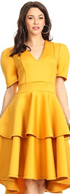 KarenT-8018-Mustard - Tiered Ruffle Short Sleeve Midi Dress With V-Neckline