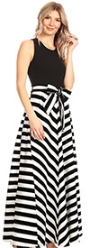 KarenT-8022-BlackWhite - Multi Stripe Print Long (Maxi) Dress With Sleeveless Solid Bodice & Sash