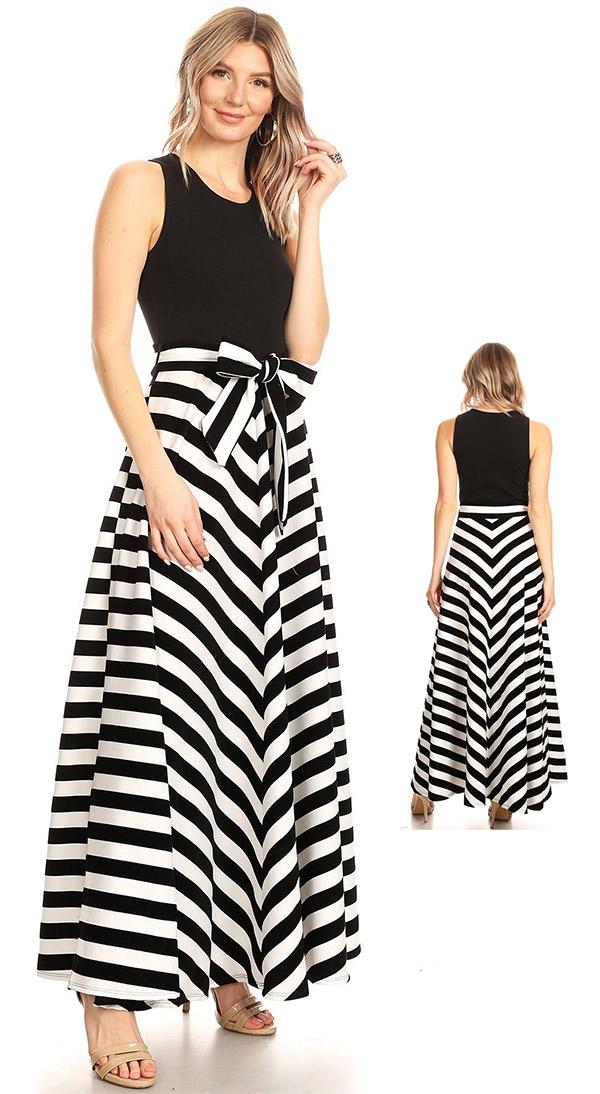 KarenT-8022-BlackWhite - Multi Stripe Print Long (Maxi) Dress With Sleeveless Solid Bodice & Sash