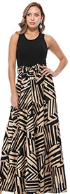 KarenT-8022-KhakiBlack - Abstract Print Long (Maxi) Dress With Sleeveless Solid Bodice & Sash