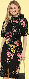 KarenT-8032P - Womens Knit Flower Print Dress With Puff Sleeves And Bow Sash
