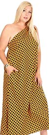 KarenT-9028D-OrangeBlack - Womens Tied One Shoulder Long (Maxi) Dress