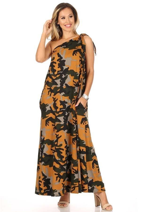 KarenT-9028D-YellowCamo - Womens Tied One Shoulder Long (Maxi) Dress