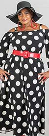 KaraChic 9036D-BlackWhite - Polka Dot Print Knit Maxi (Long) Dress With Off-Shoulder Strapped Neckline