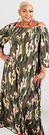 KaraChic 9036D-Camo - Camouflage Print Knit Maxi (Long) Dress With Off-Shoulder Strapped Neckline