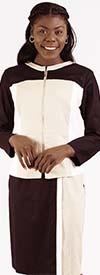 Lino-4507 Womens Linen Dress Set In Color Block Design