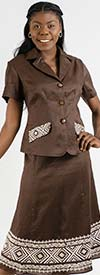 Lino-4511 Womens Linen Dress Set Trimmed With Pattern Design