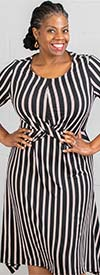 Mlle Gabrielle 62152 - Striped Print Twist Front Womens Dress