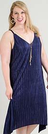 Mlle Gabrielle 84468 - Sleeveless Pleated Midi Dress With V-Neckline