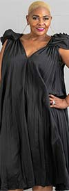 N By Nancy W7887-Black - Pleated A-Line Dress With Rosette Shoulder Details