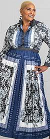 N By Nancy X7131 - Womens Long Sleve Print Pleated Dress